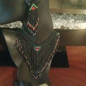 Handmade seed bead choker set